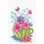 Green Tea Cup & Flowers Cross Stitch Kit