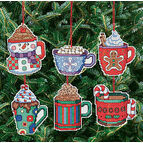 Christmas Cocoa Mug Ornaments Cross Stitch Kit (Set of 6)