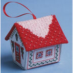 Red & Silver Gingerbread House 3D Cross Stitch Kit
