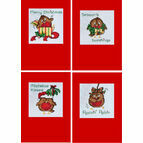 Seasons Tweetings Robin Christmas Card Cross Stitch Kits (Set Of 4)