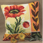 New Poppy Cushion Panel Cross Stitch Kit