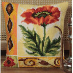 Valiant Poppy Cushion Panel Cross Stitch Kit