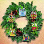 Owl Christmas Tree Ornaments Cross Stitch Kit