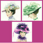 Set Of 3 Elegance Collection Miniature Portrait Cross Stitch Kits - Rebecca, Sophia and Charlotte