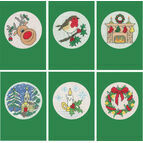 Set Of Six Green Cross Stitch Christmas Card Kits