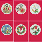 Set Of Six Red Cross Stitch Christmas Card Kits