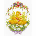 Ducklings With Daisies III Cross Stitch Kit