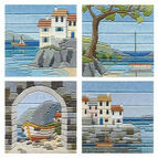 Set Of 4 Coastal Scene Long Stitch Kits