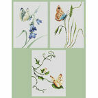 Set Of 3 Butterfly Cross Stitch Kits - Summer Delight, Smell Of Summer & Touch