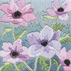 Purple Anemonies Silken Long Stitch Kit