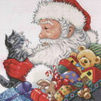Santa With Kitten Cross Stitch Kit