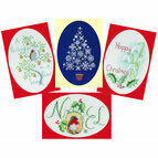 Happy Christmas Collection Cross Stitch Christmas Cards - Set Of 4