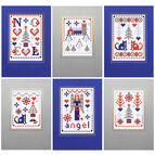 Xmas Blue Cross Stitch Card Kits (Set of 6)