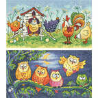 Happy Hens & Hoot Of Owls Set Of 2 Cross Stitch Kits