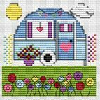 Vintage Caravan Cross Stitch Card Kit