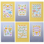 Happy Birthday Yellow Cross Stitch Card Kits (set of 6)