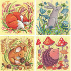 Set Of 4 Woodland Creatures Cross Stitch Kits