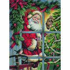Candy Cane Santa Cross Stitch Kit