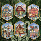 Christmas Village Cross Stitch Ornaments Kit (Set of 6)