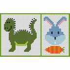 Sew Simple Set Of 2 Cross Stitch Kits - Dinosaur & Bunny Head