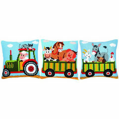Cushion Panel Chunky Cross Stitch Kit - Tractor