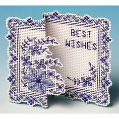 Blue Clematis Card 3D Cross Stitch Kit