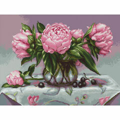 Vase Of Peonies Cross Stitch Kit