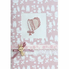Pink Bonnet Cross Stitch Card Kit