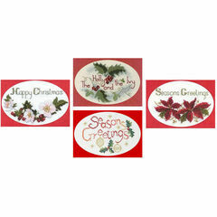 Greetings Collection Set Of 4 Christmas Card Cross Stitch Kits