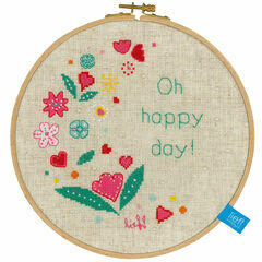 Oh Happy Day Cross Stitch Hoop Kit