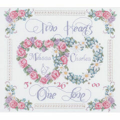 Two Hearts, One Love Cross Stitch Kit