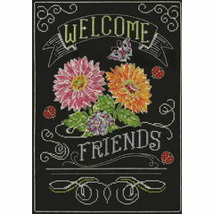 Welcome Friends Chalkboard Cross Stitch Kit