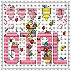 It's A Girl Cross Stitch Card Kit
