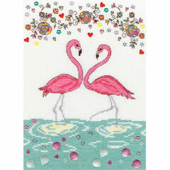 Love Flamingo Cross Stitch Kit