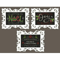 Set Of 3 Christmas Chalkboard Cross Stitch Kits With Frames