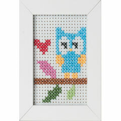 Owl Felt Cross Stitch Kit With Frame