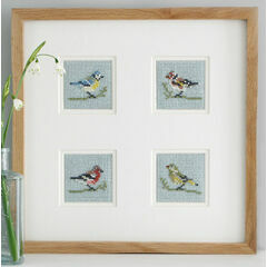 Birds Set Of 4 Mini Beadwork Embroidery Kits (Blue Tit, Greenfinch, Chaffinch & Goldfinch)