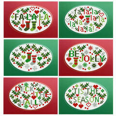 Jolly Holly Cross Stitch Christmas Card Kits (set of 6)
