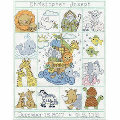Noah's Animals Birth Sampler Cross Stitch Kit