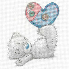 Tatty Ted Patchwork Heart Printed Cross Stitch Kit