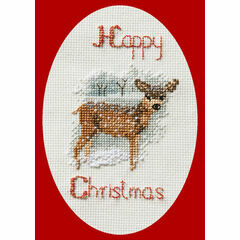 Deer In Snowstorm Cross Stitch Christmas Card Kit