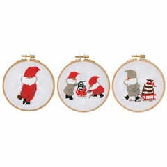 Tomte, Kettle, Sleigh Cross Stitch Hoop Kit