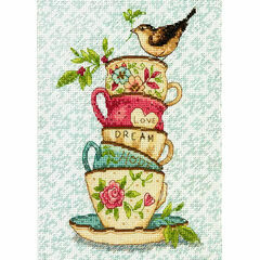 Stacked Tea Cups Cross Stitch Kit