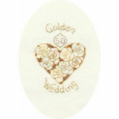 Golden Anniversary Cross Stitch Card Kit