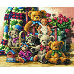 Teddy Bear Gathering Cross Stitch Kit