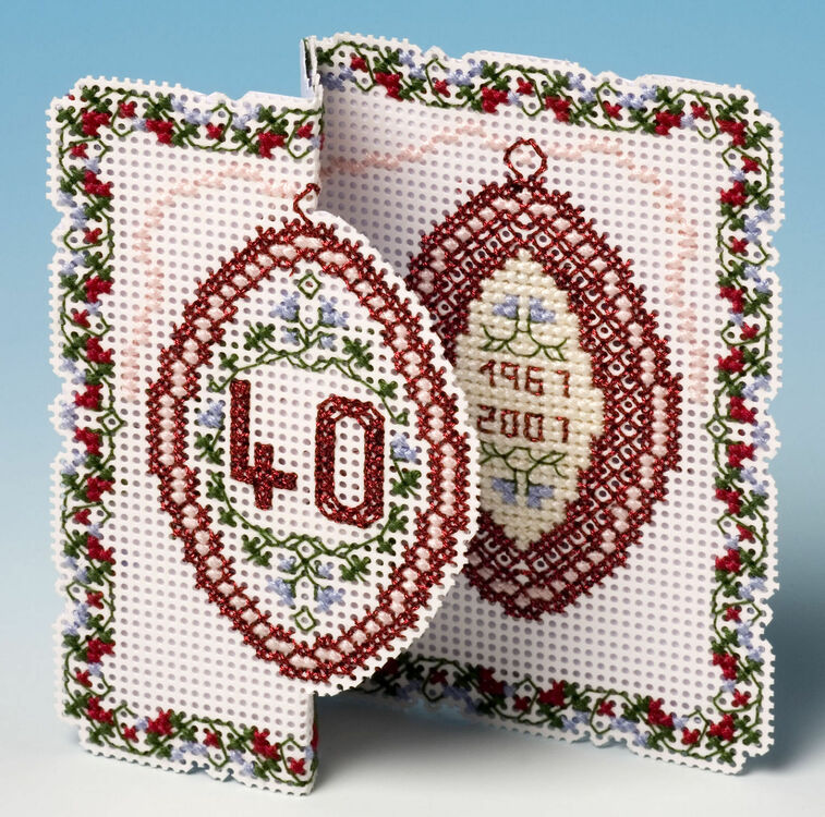 ruby anniversary card 3d cross stitch kit only £955