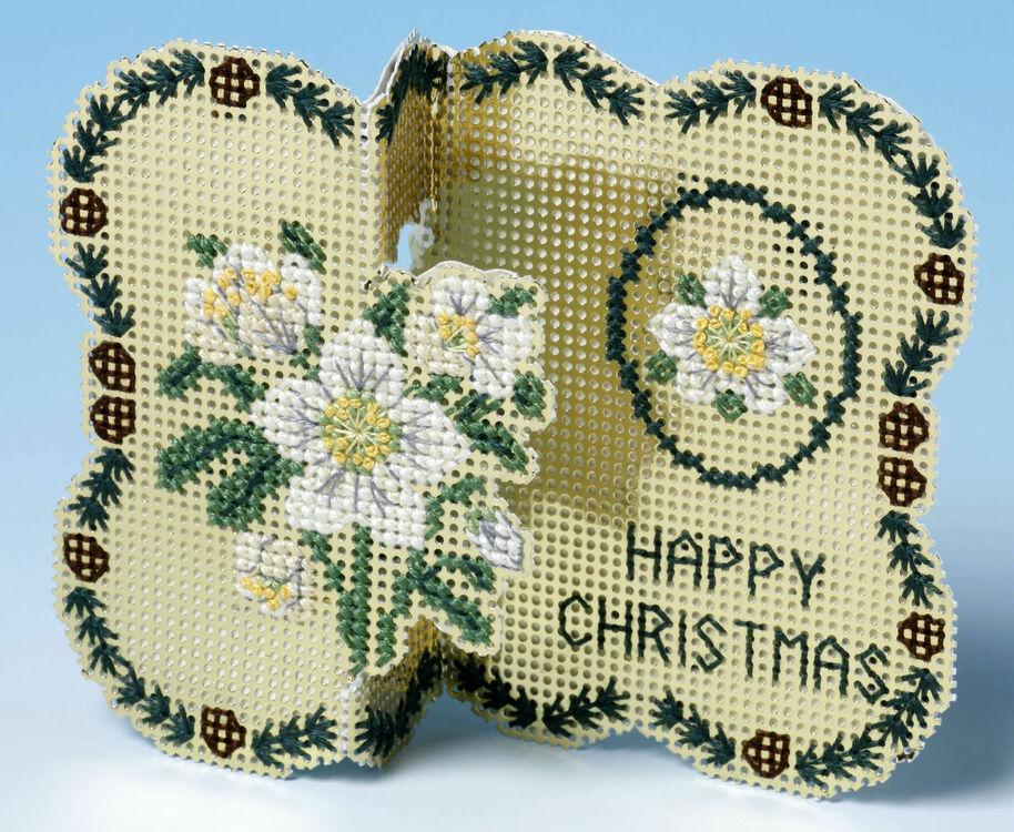 Golden Flowers Christmas Card 3D Cross Stitch Kit only £9.55