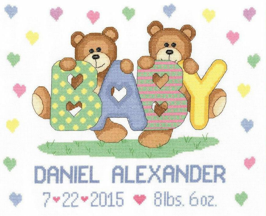 Teddy Baby Birth Announcement Cross Stitch Kit only 2200 – Baby Announcement Cross Stitch
