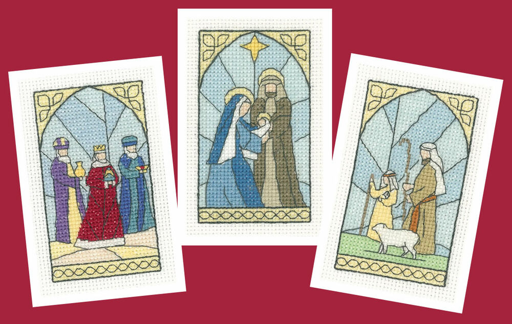 Stained glass christmas card cross stitch kits set of
