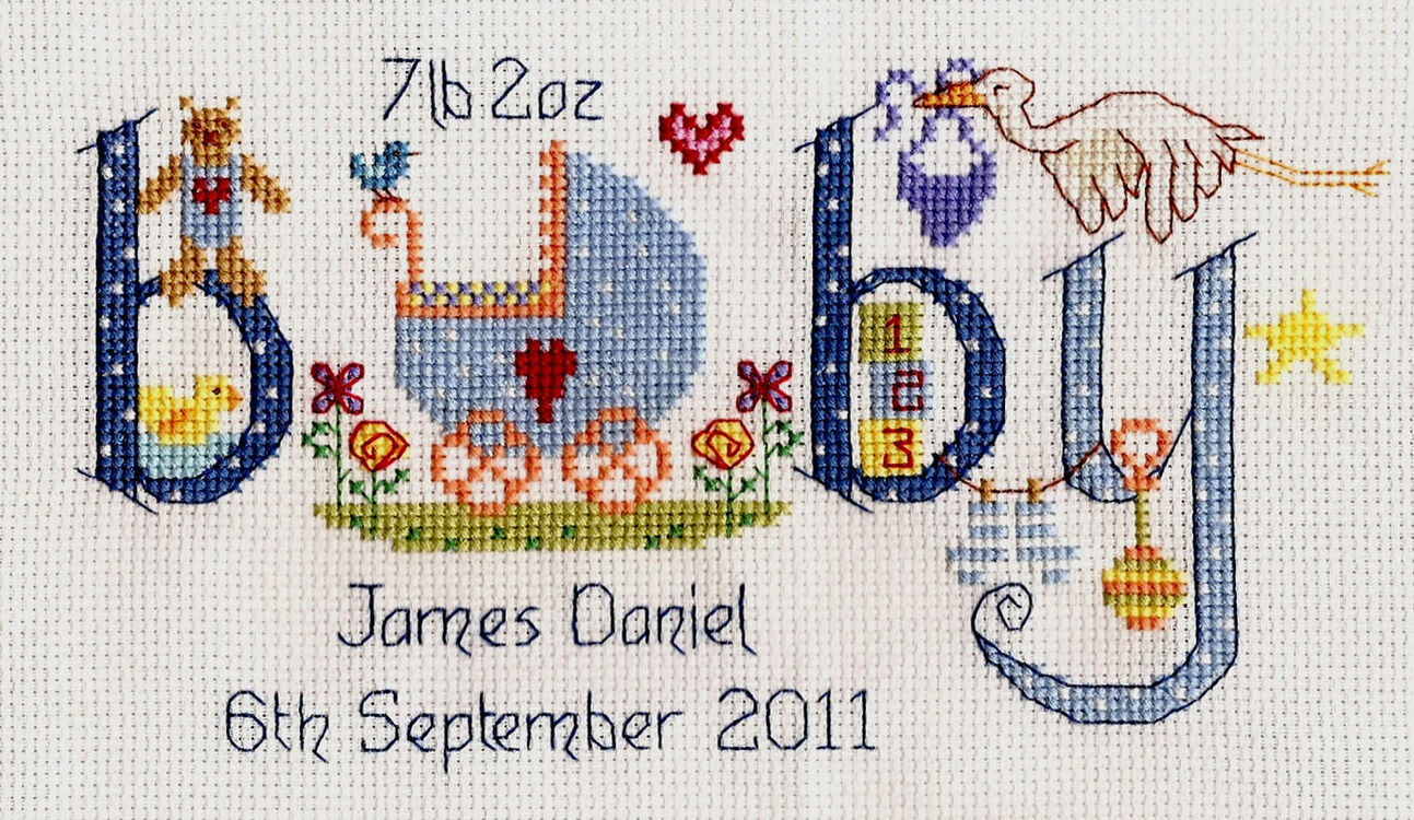 Baby boy birth sampler cross stitch kit only £
